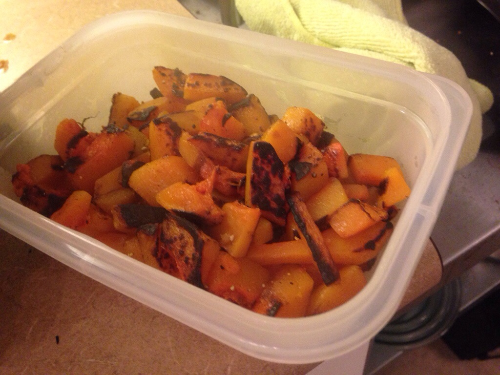 The butternut squash hash ready for lunch the next day