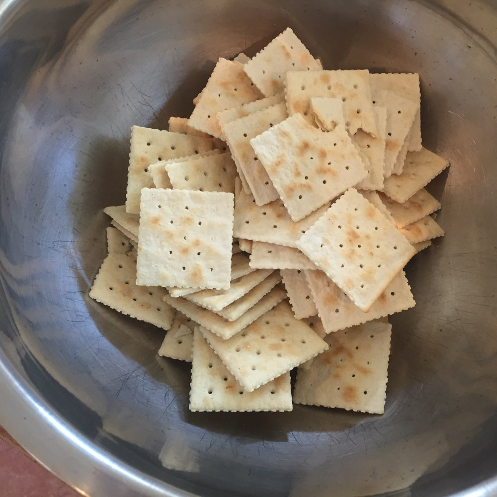 The saltines about to be crushed
