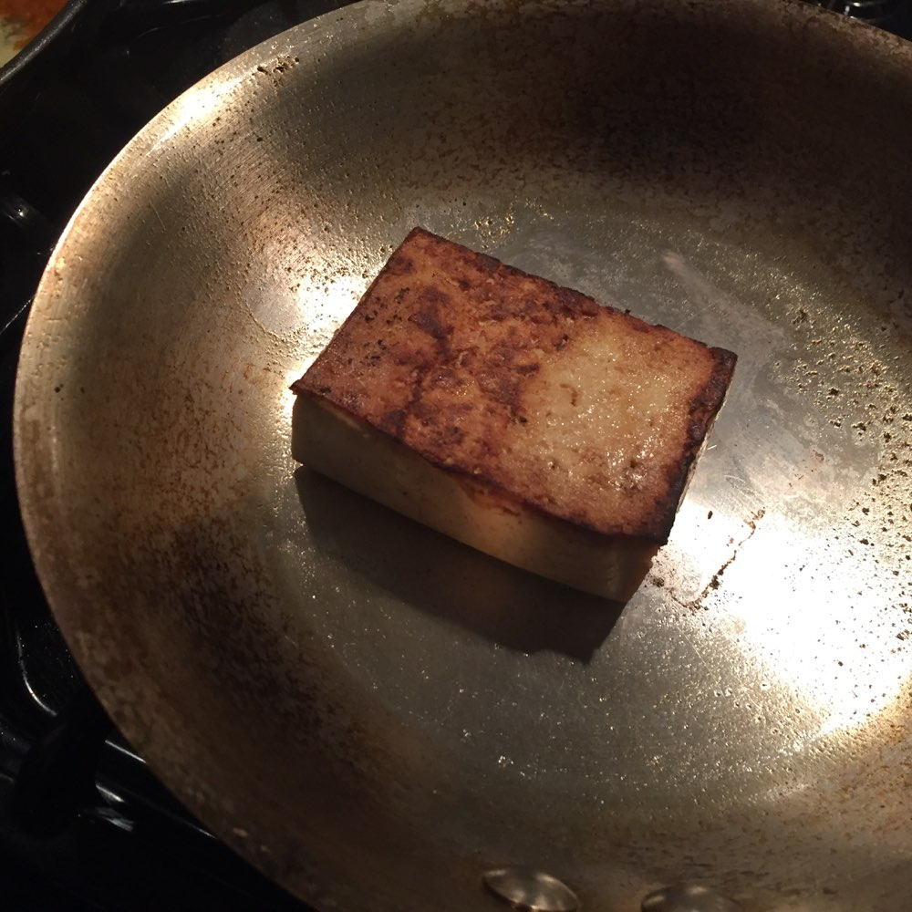 Cooking the tofu for my side salad