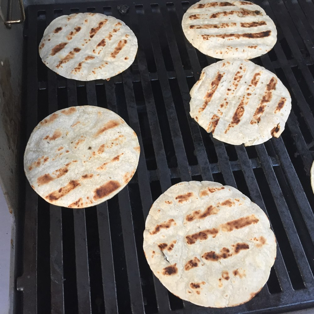 Grilling the tortillas